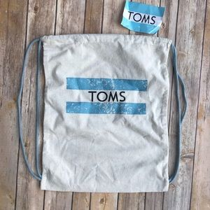 Toms Drawstring Backpack Bag with Sticker